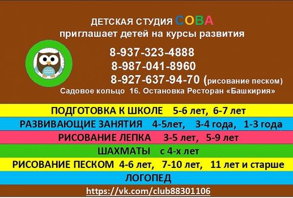 СОВА, детская студия развития,Центры раннего развития детей ,Октябрьский