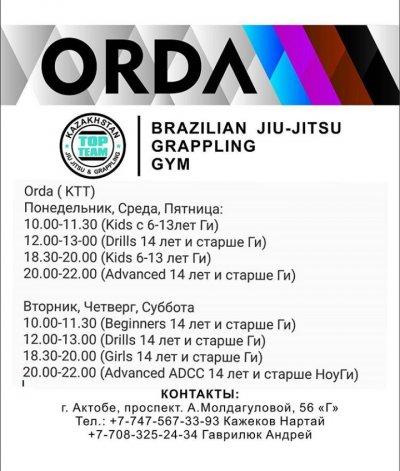 Orda brazilian jiu-jitsu and grappling gym, спортивная школа,Спортивные школы,,Актобе
