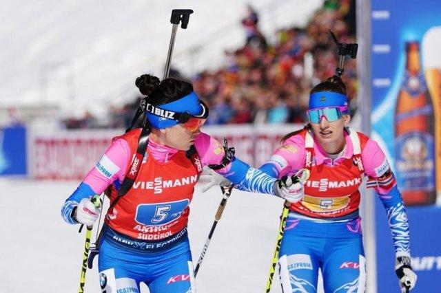 🥇Женская сборная России взяла золото в эстафете на этапе Кубка мира по биатлону в Антхолце.